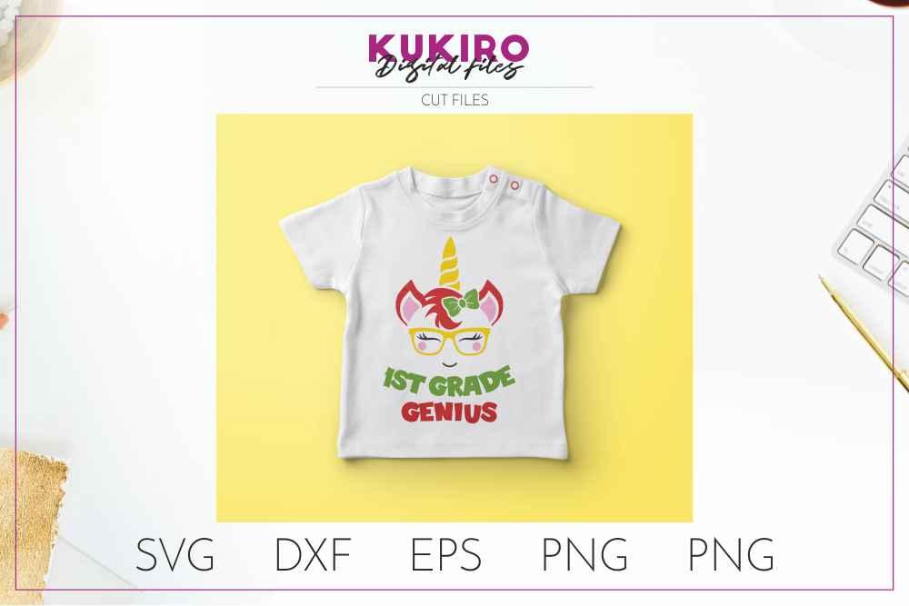 Unicorn SVG - Genius school girl cut file SVG DXF EPS PNG JP example image 3