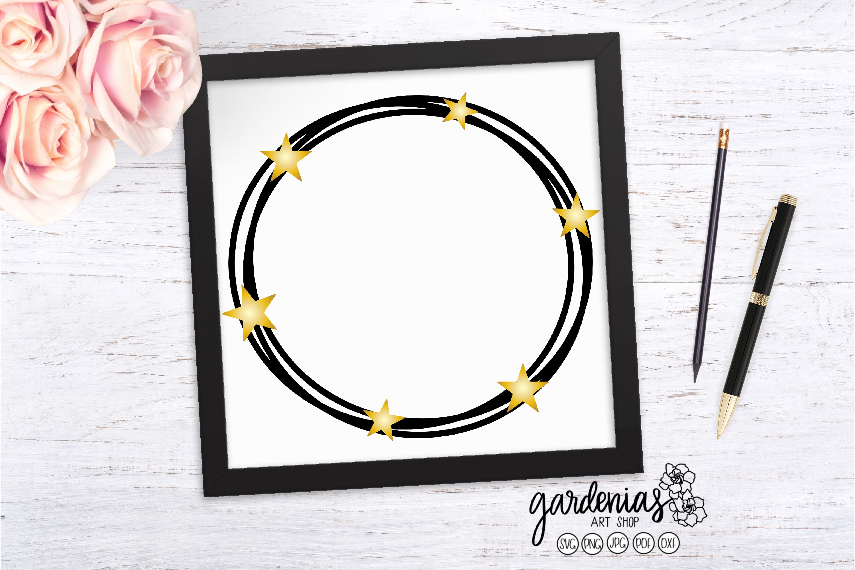 Star Wreath SVG | Six Star Cut File | Star Wreath Clip Art example image 1