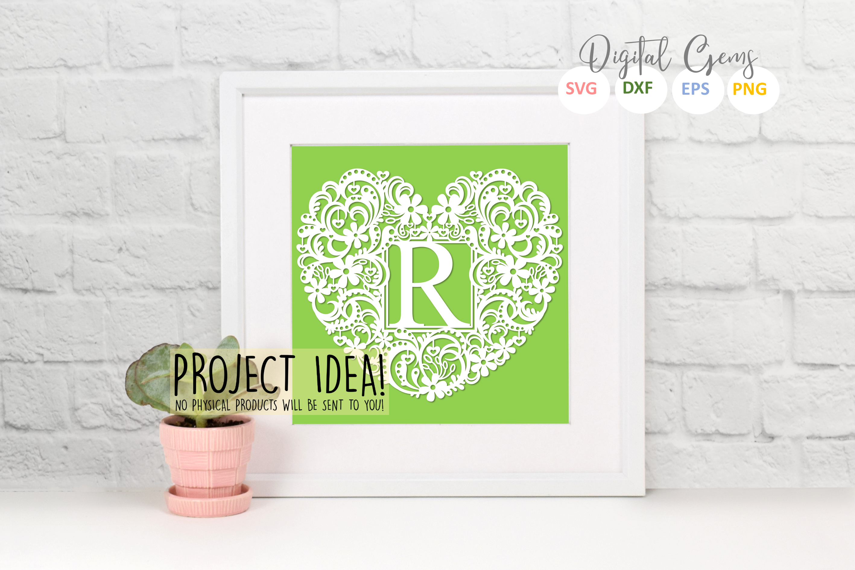 Letter R paper cut design. SVG / DXF / EPS / PNG files example image 2