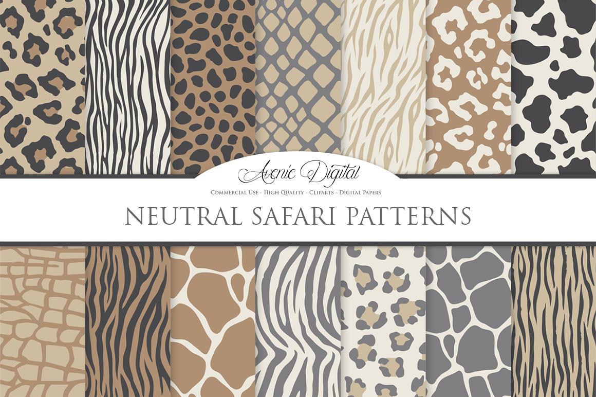 Neutral Animal Print Vector Patterns - Brown Safari Seamless Digital Papers example image 1
