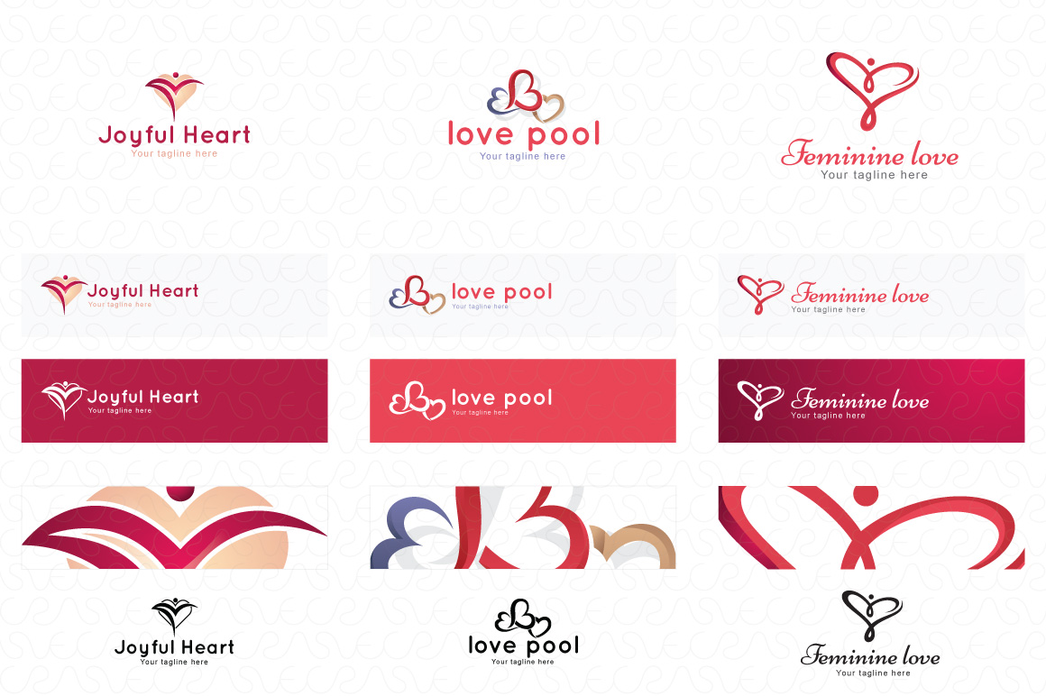 Heart Shape & Love Symbol Logo Templates Pack of 32 example image 6