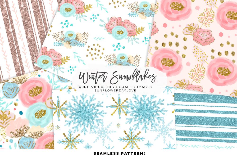 Winter Snowflakes Digital Paper example image 2