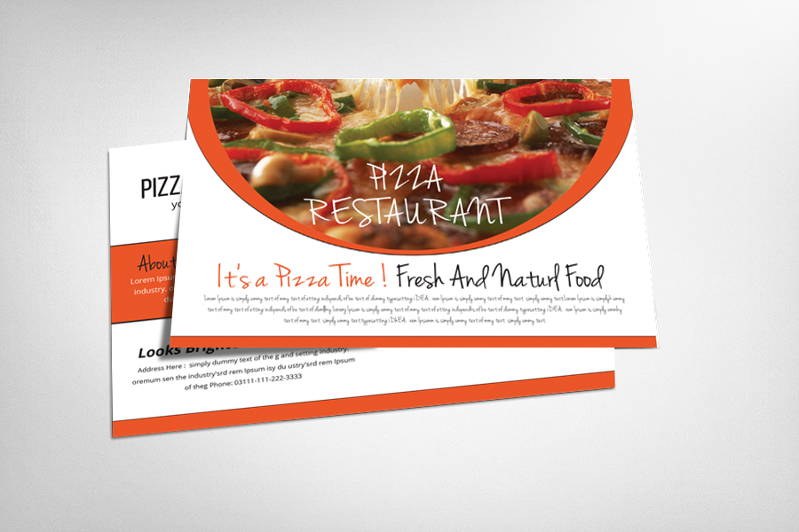 Food and Pizza Postcard Template example image 1