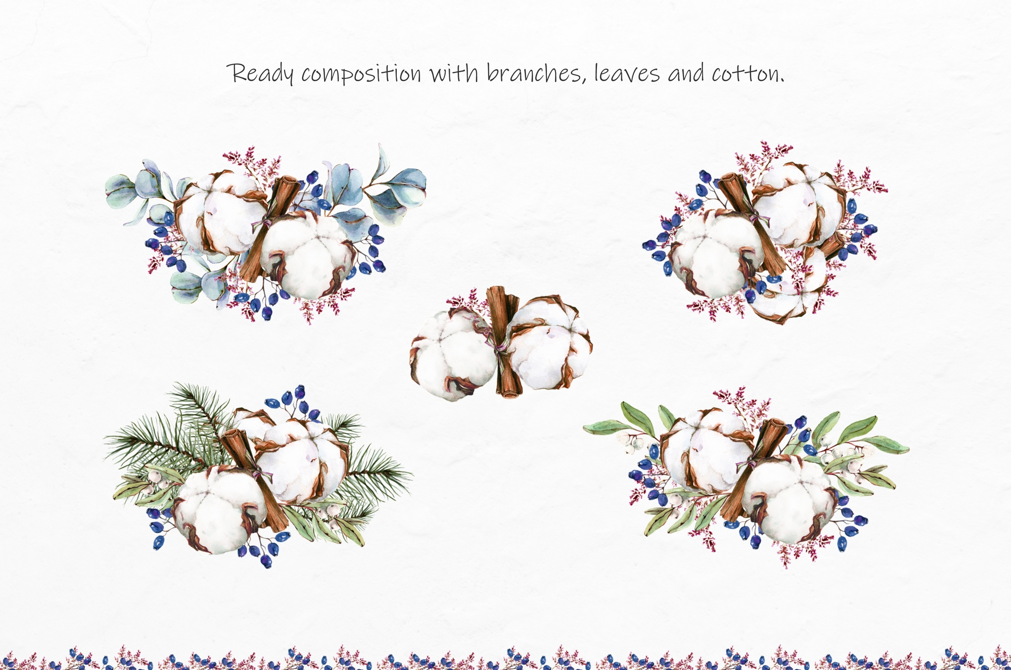 Watercolor Winter Wreaths | Clipart example image 5