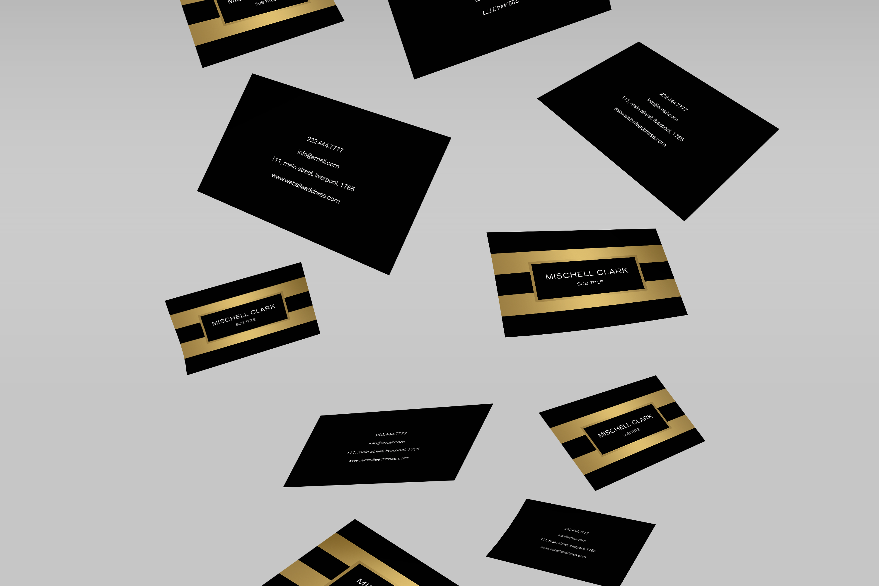 Golden metal finish business card  example image 2