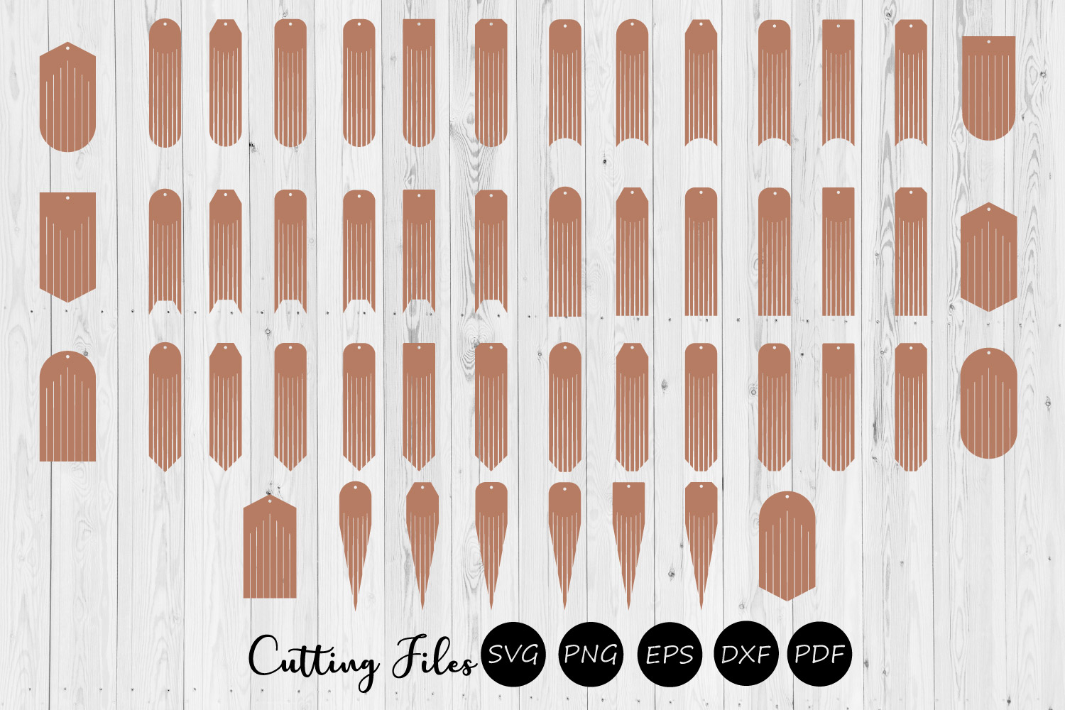 50 Fringe earrings designs | Leather Jewelry | Laser cut SVG example image 1