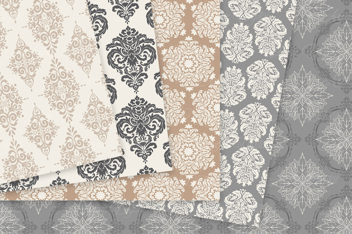 28 Neutral Damask Patterns - Wedding Seamless Digital Papers Bundle example image 6