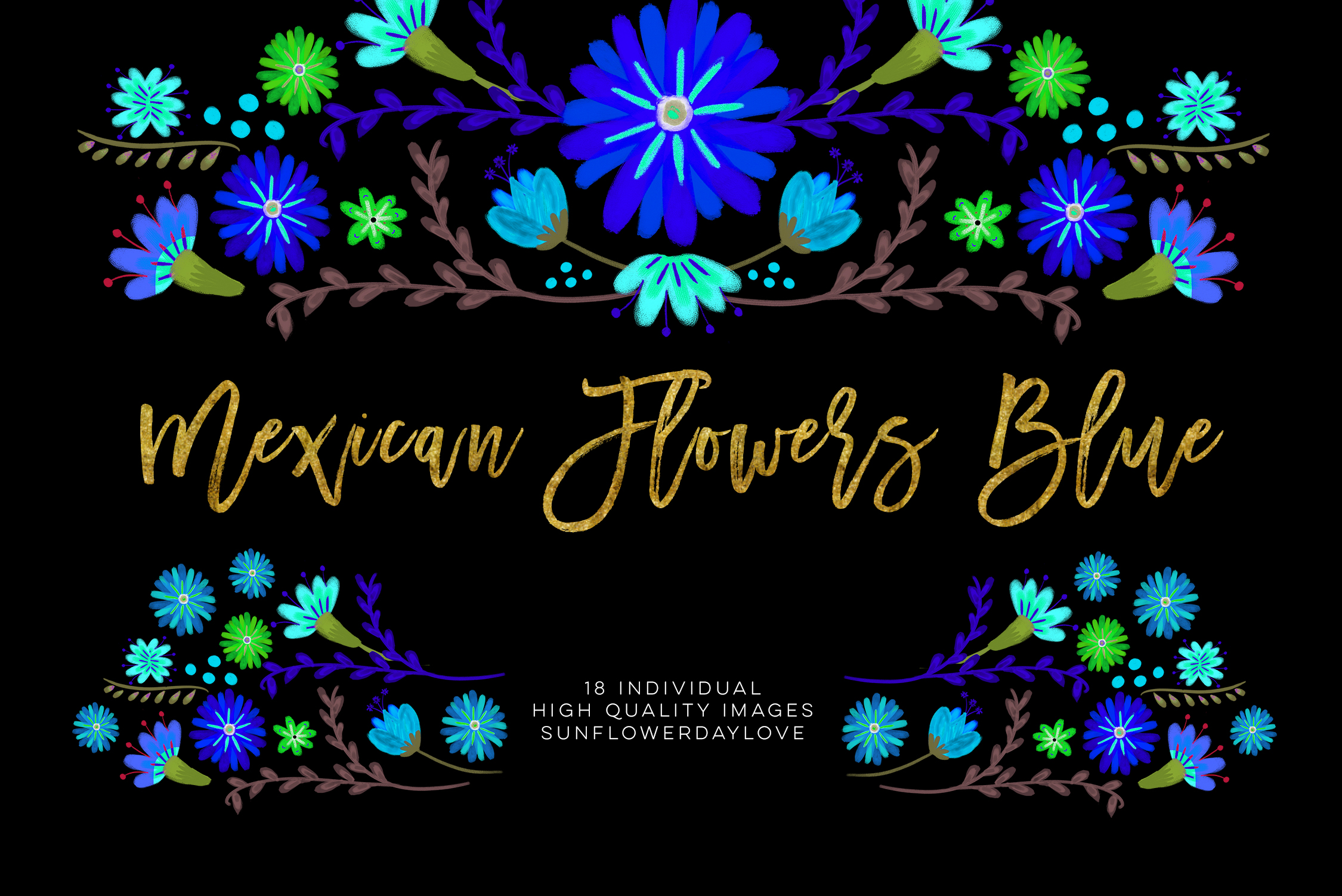 Blue Mexican Watercolor Floral clipart example image 2