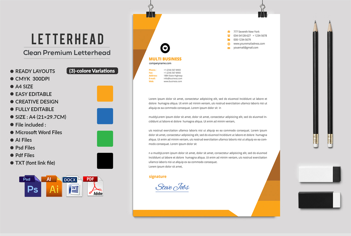 12 Clean Rsume Invoice and Letterhead Bundle example image 13
