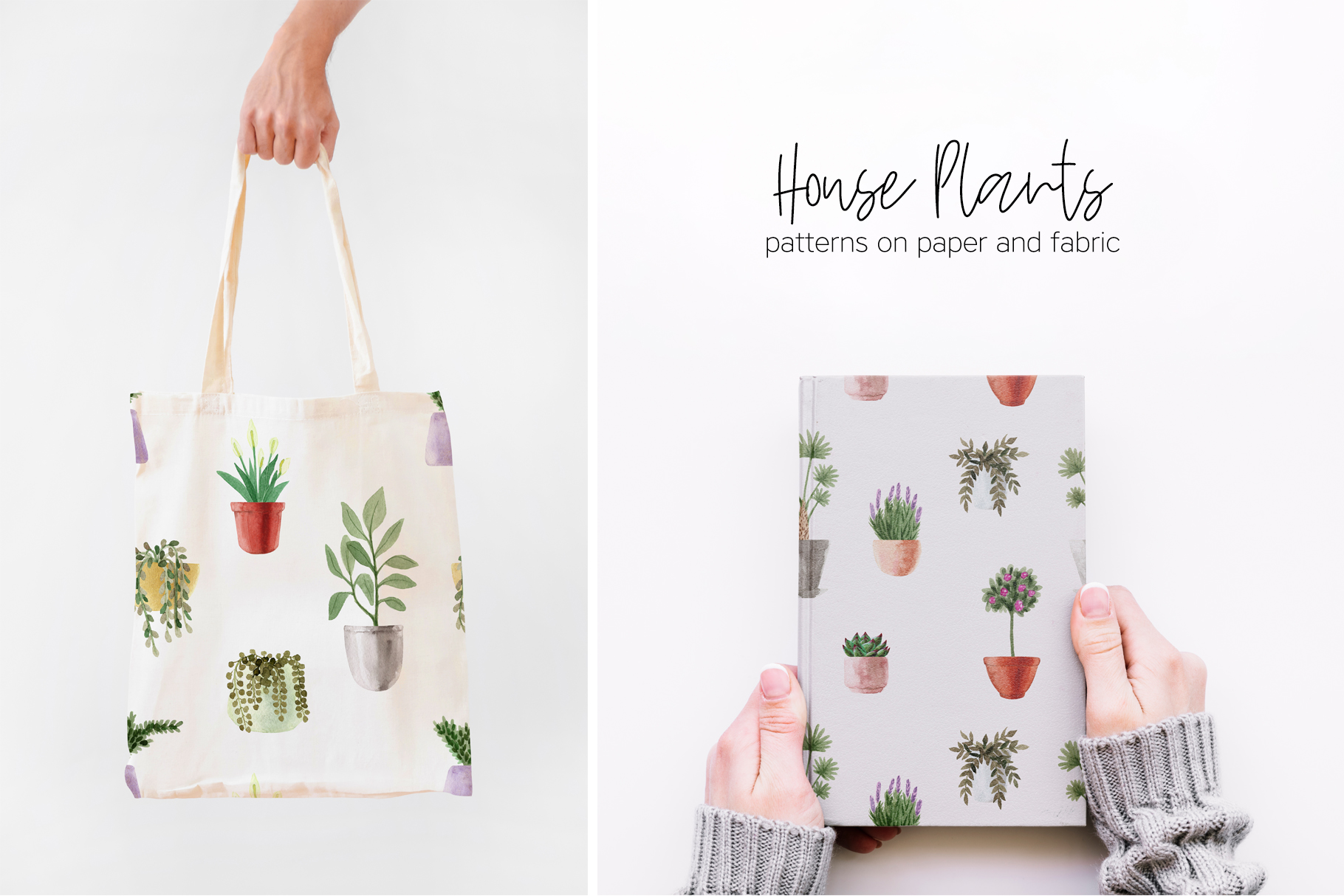 Watercolor House Plants Patterns example image 4