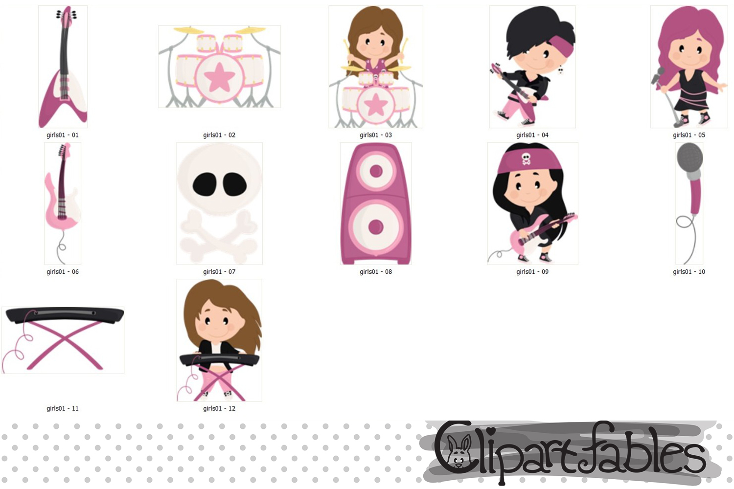 GIRL Rock Star clipart, Music clip art - INSTANT download example image 2