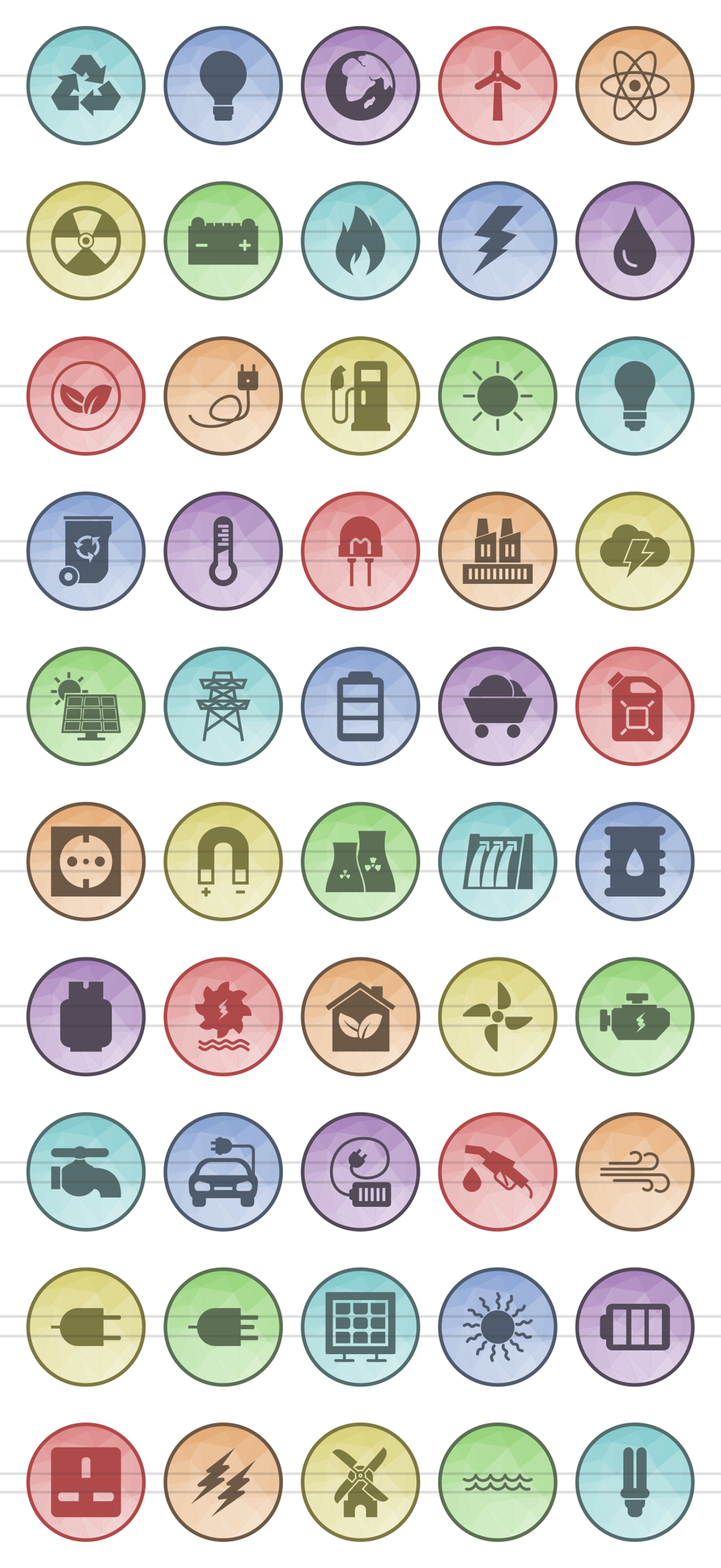 50 Energy Filled Low Poly Icons example image 2