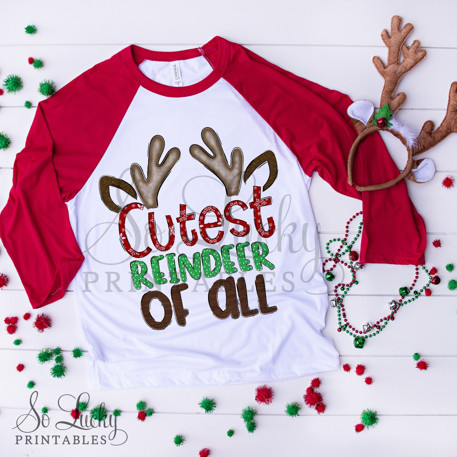 Cutest reindeer watercolor printable sublimation design example image 2