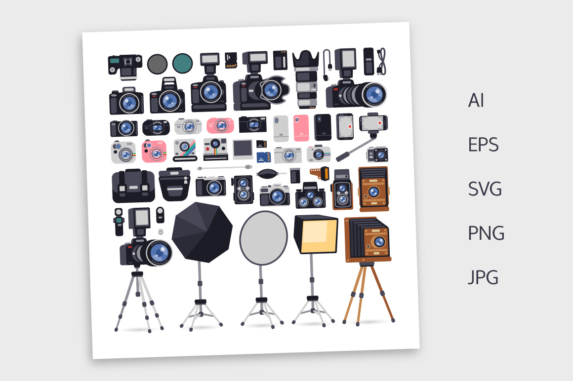 Photographer Equipment in Flat Style example image 3