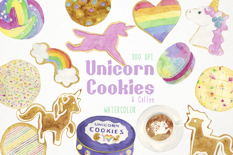 Watercolor Cookies Clipart, Unicorn Cookies Clip Art example image 1