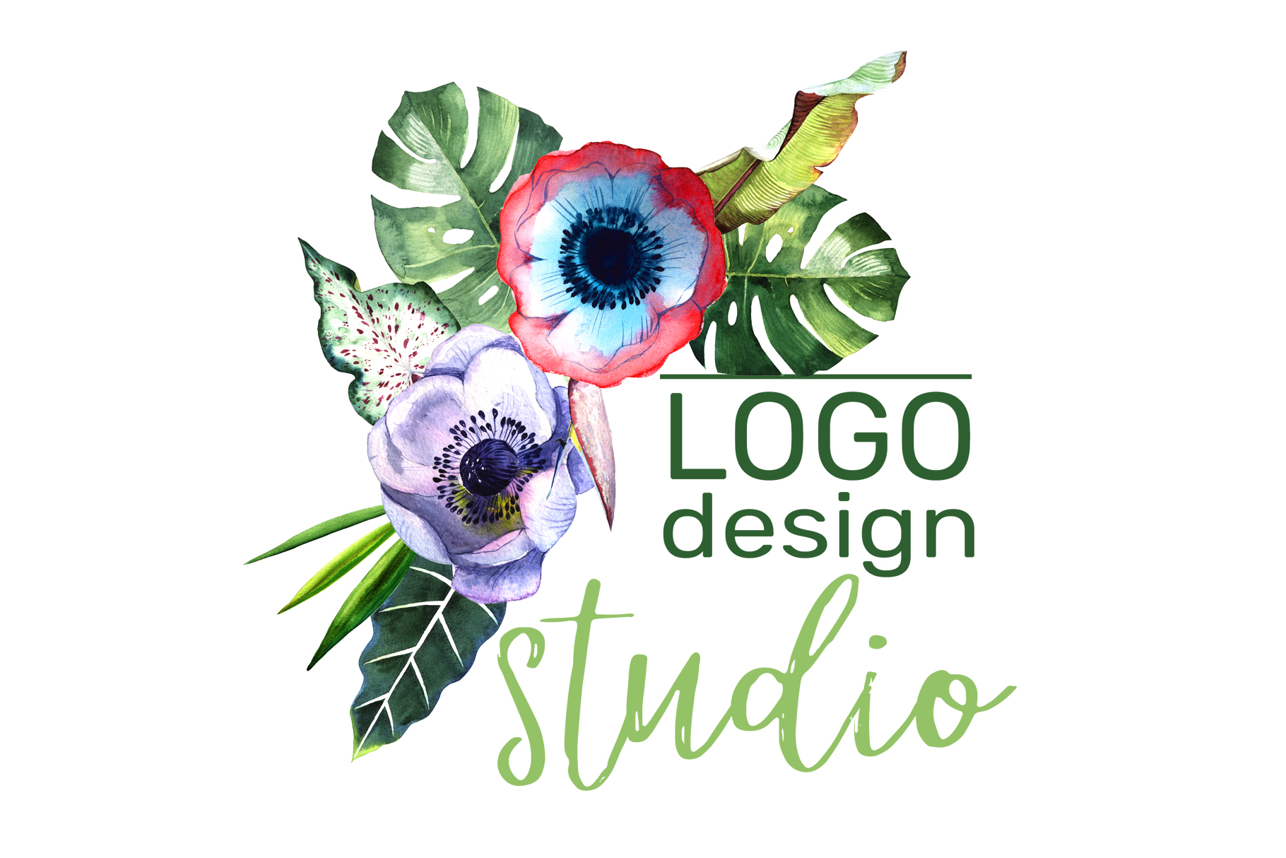 LOGO with tropical flowers Watercolor png example image 5