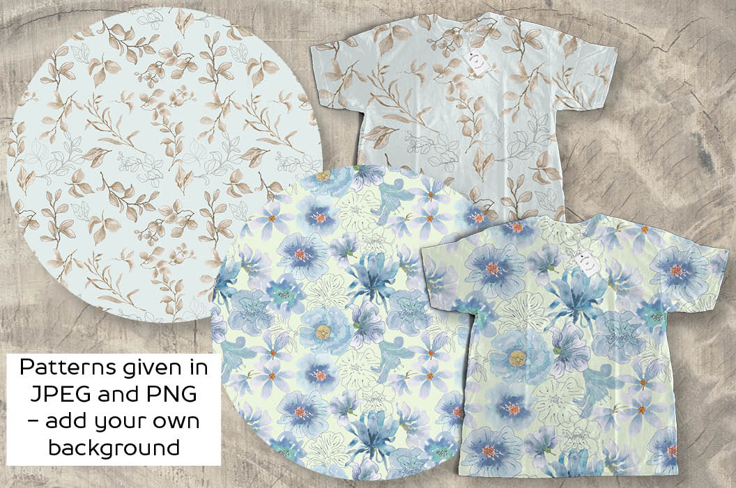 Powder blue watercolor floral patterns example image 2