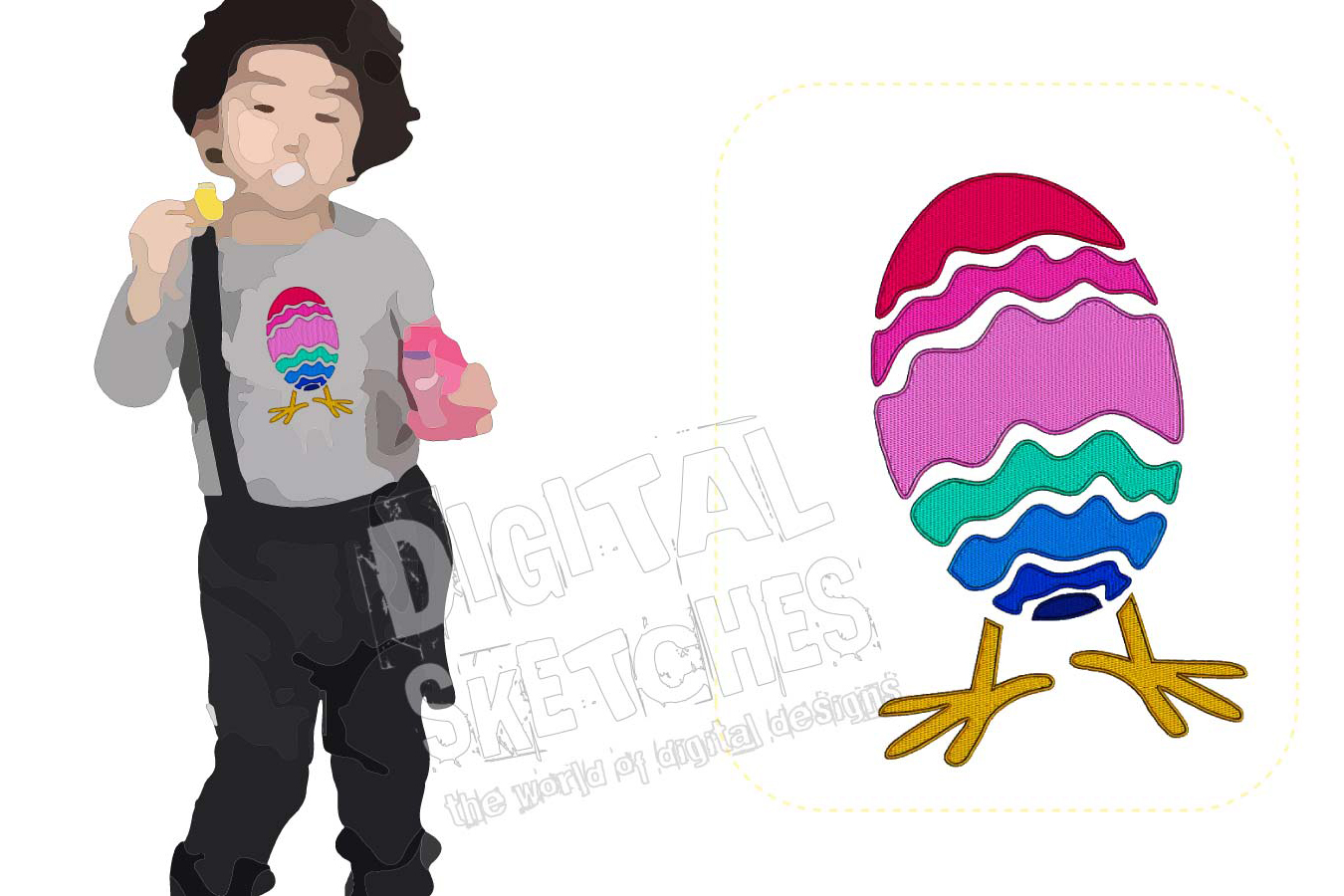 Easter Egg Machine Embroidery Design Chick Chicken 3 Sizes example image 1