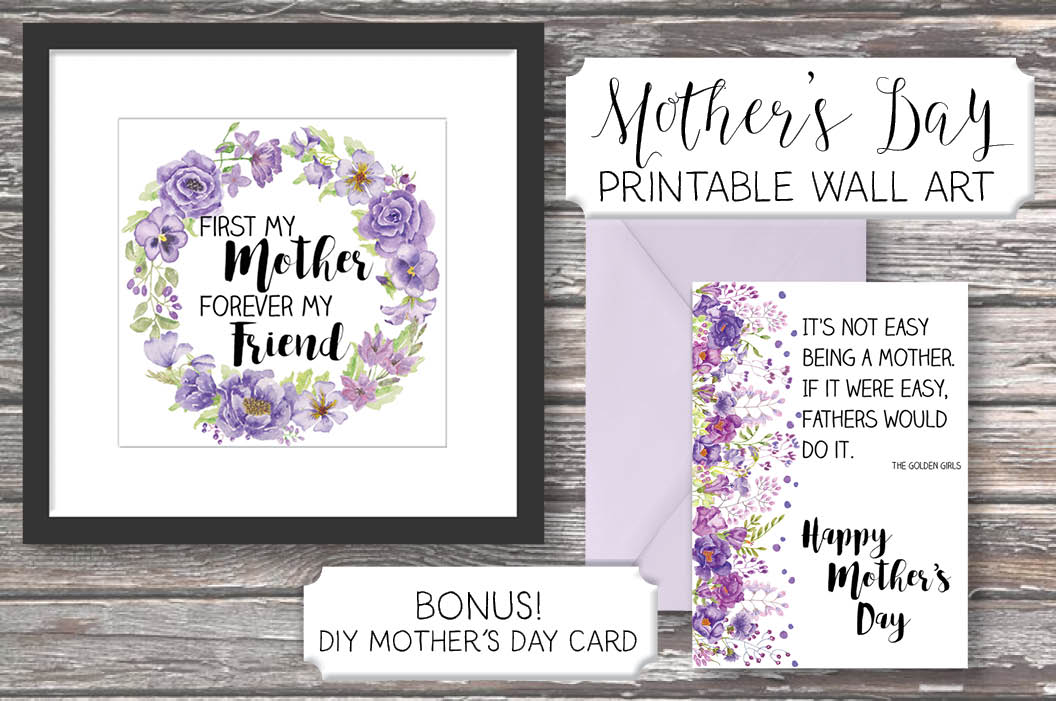 Mother's day wall art: purple flowers example image 2