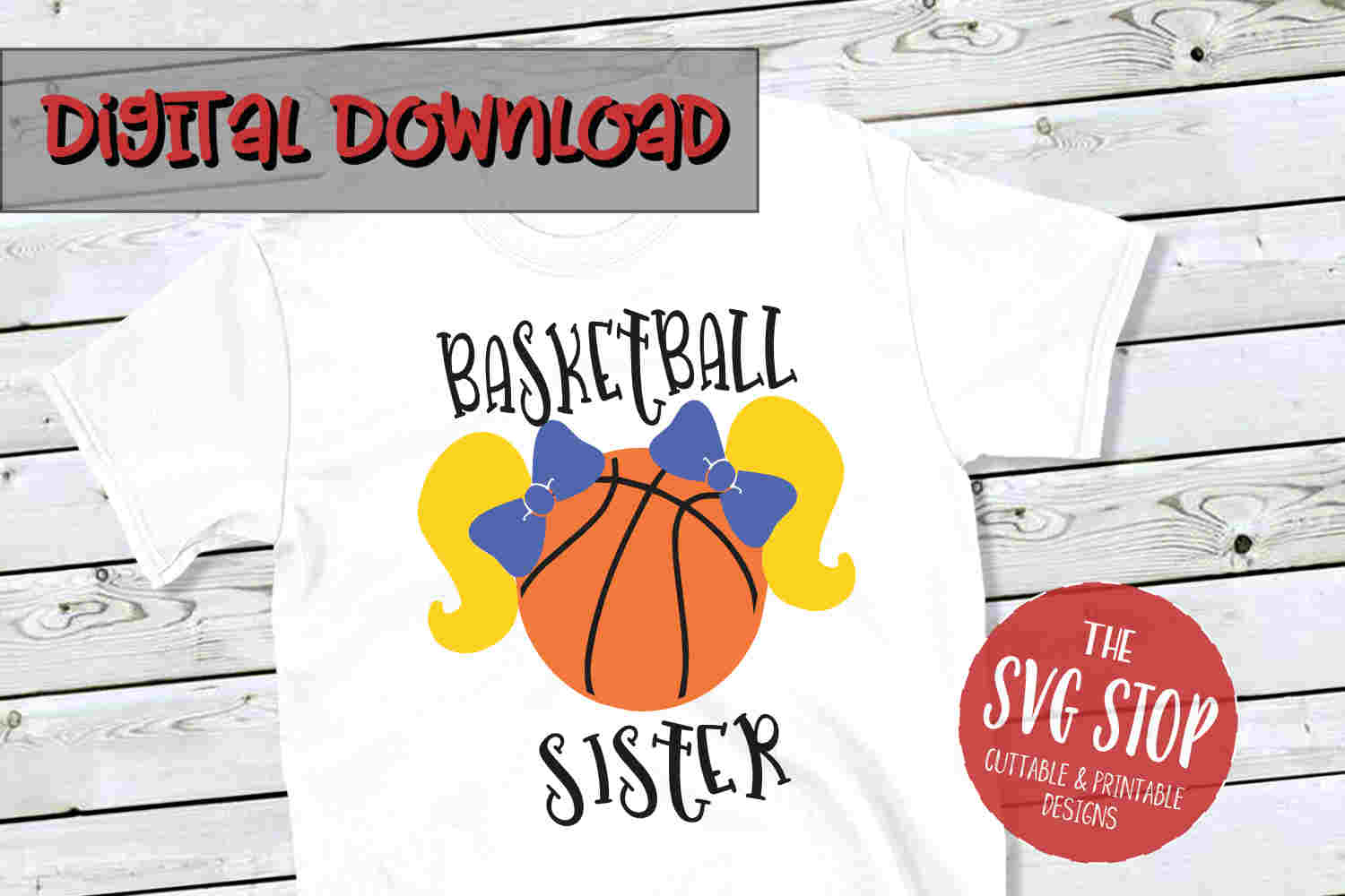 Basketball Sister Pigtails 2 -SVG, PNG, DXF example image 1