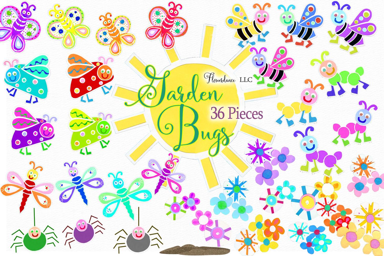 Watercolor Bugs Clipart, Garden Bugs, Bee, Ladybug example image 3