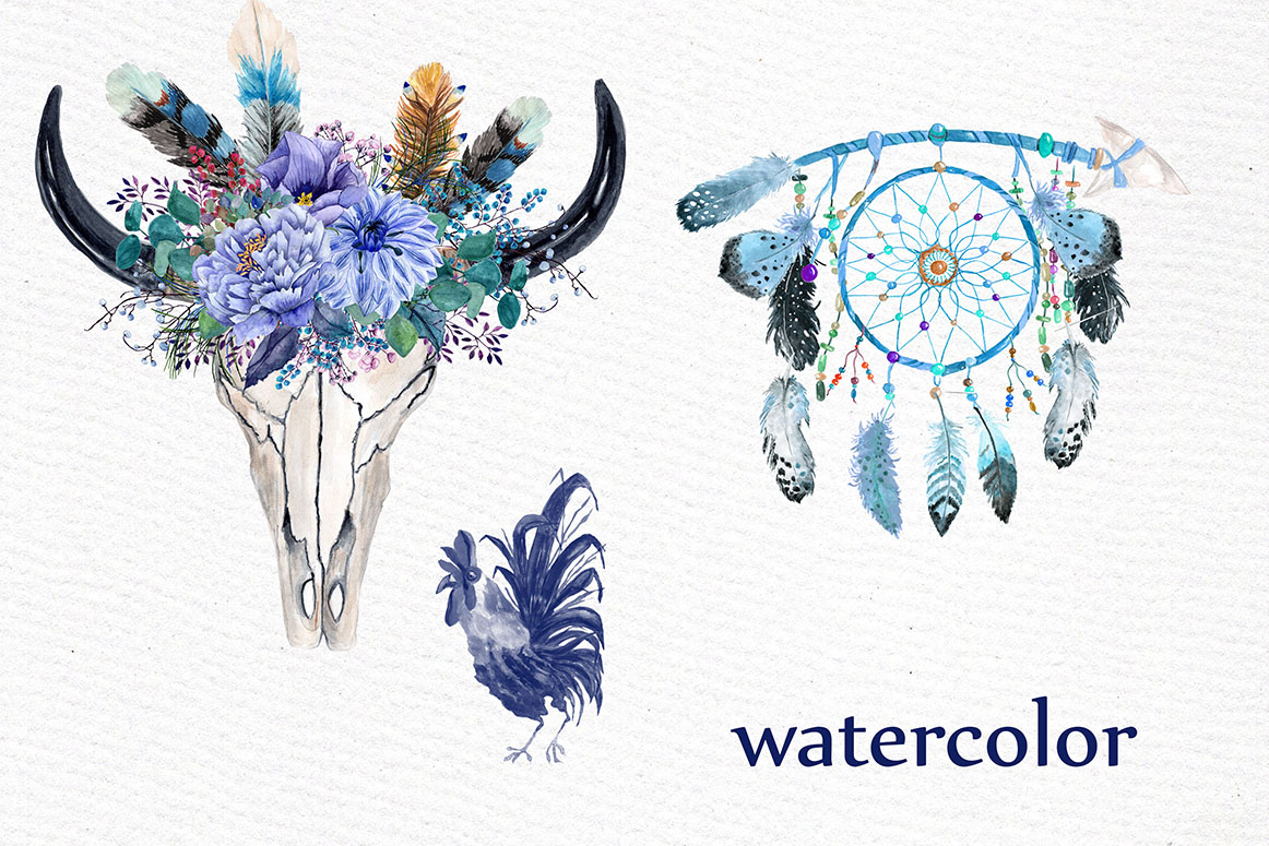 Watercolor tribal clipart example image 3