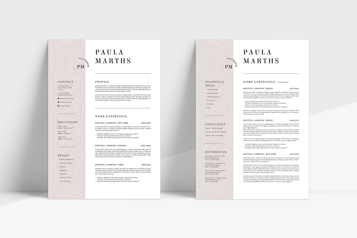 FLORAL Resume/CV + Cover Letter + Title example image 4