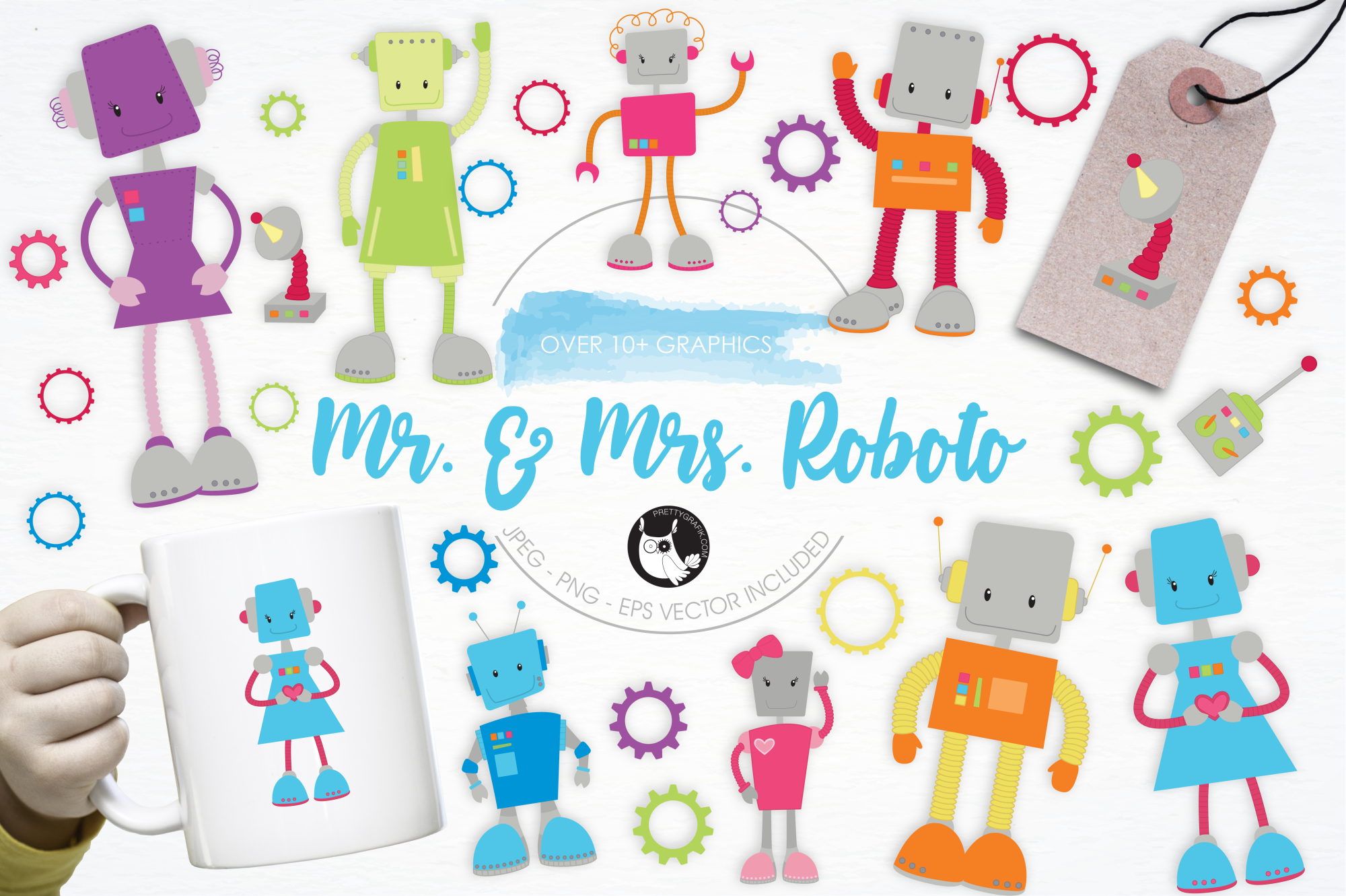 Mr. & Mrs. Roboto graphics and illustrations example image 1