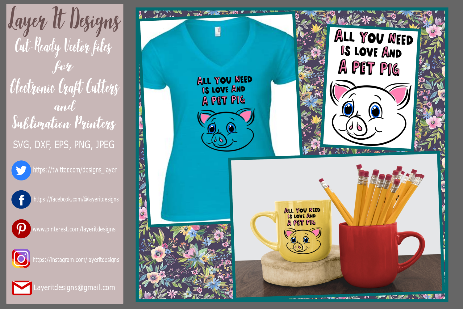 All You Need Is Love And A Pet Pig Design file example image 1