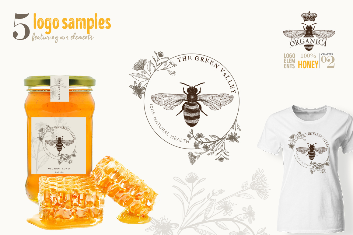 ORGANIC LOGO ELEMENTS  HONEY example image 10