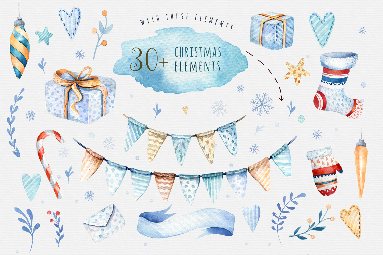 Watercolor Christmas collection example image 4