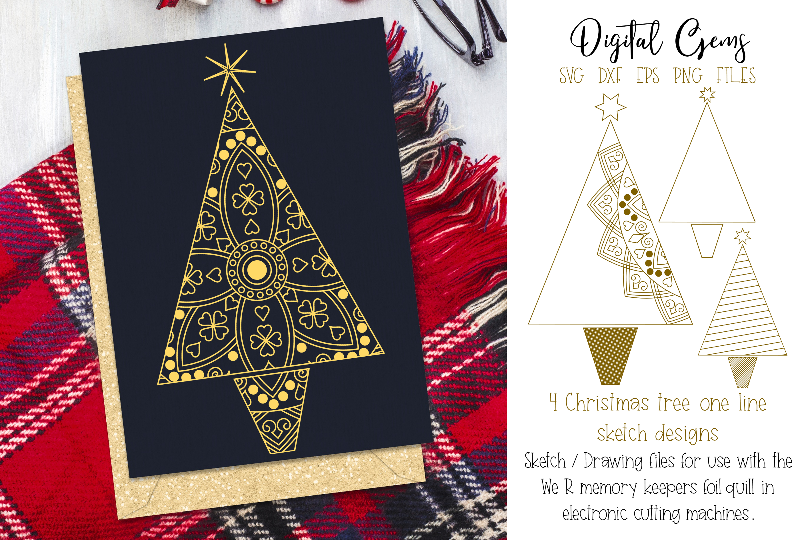 Christmas tree foil quill / sketch single line files example image 1