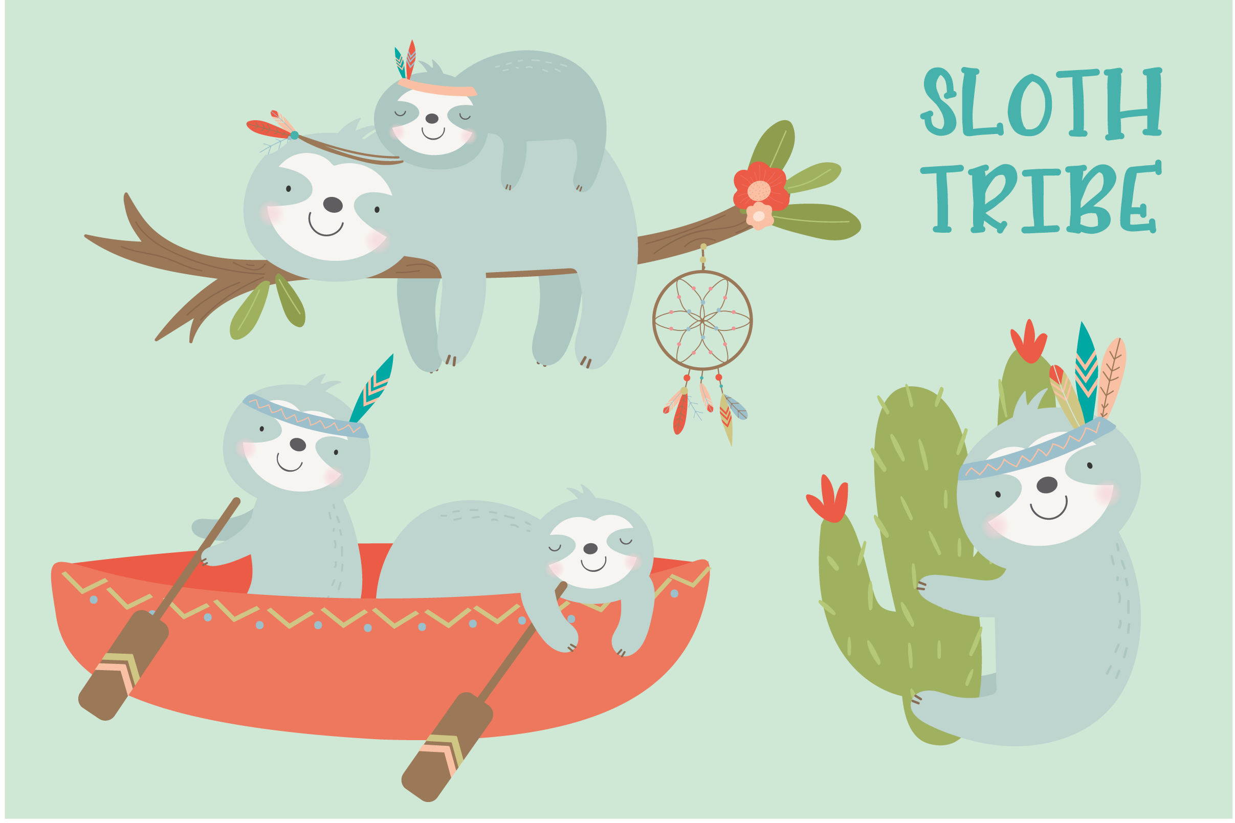 SLoth TRibe clipart and paper set example image 1