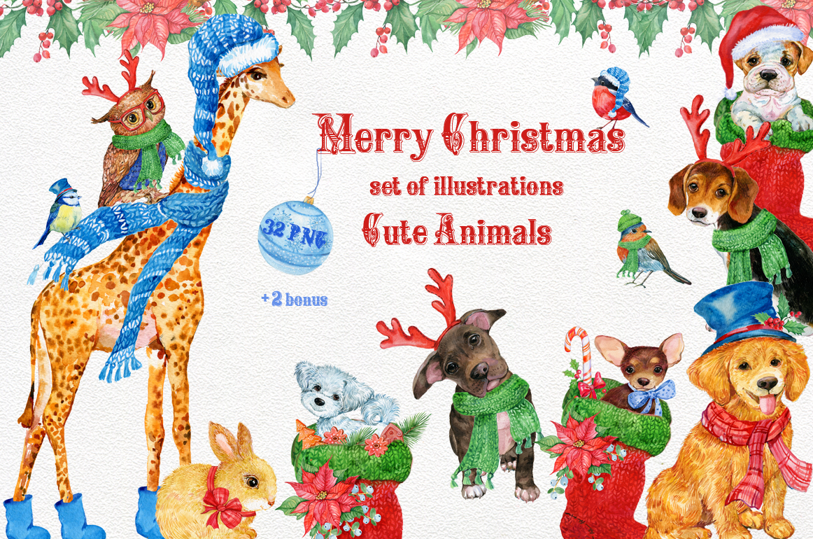 merry christmas cute animals