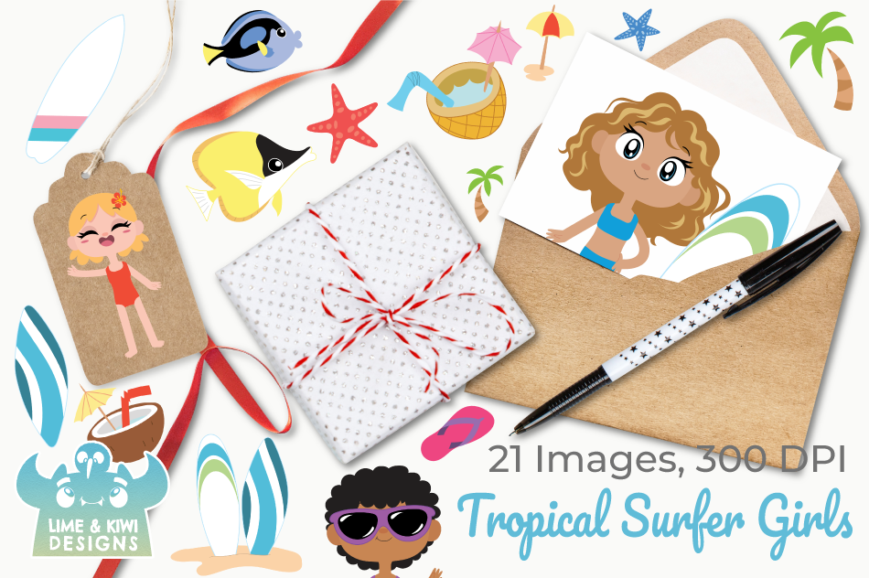 Tropical Surfer Girls Clipart, Instant Download Vector Art example image 4