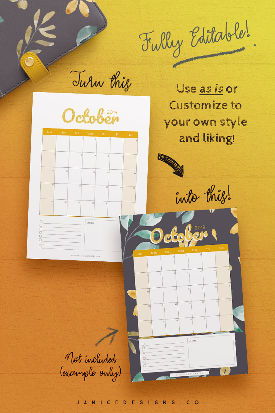2019 Calendar InDesign Template for Commercial Use example image 5