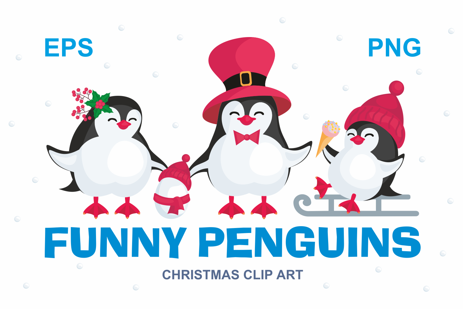 Funny penguins. Christmas clip art. example image 1