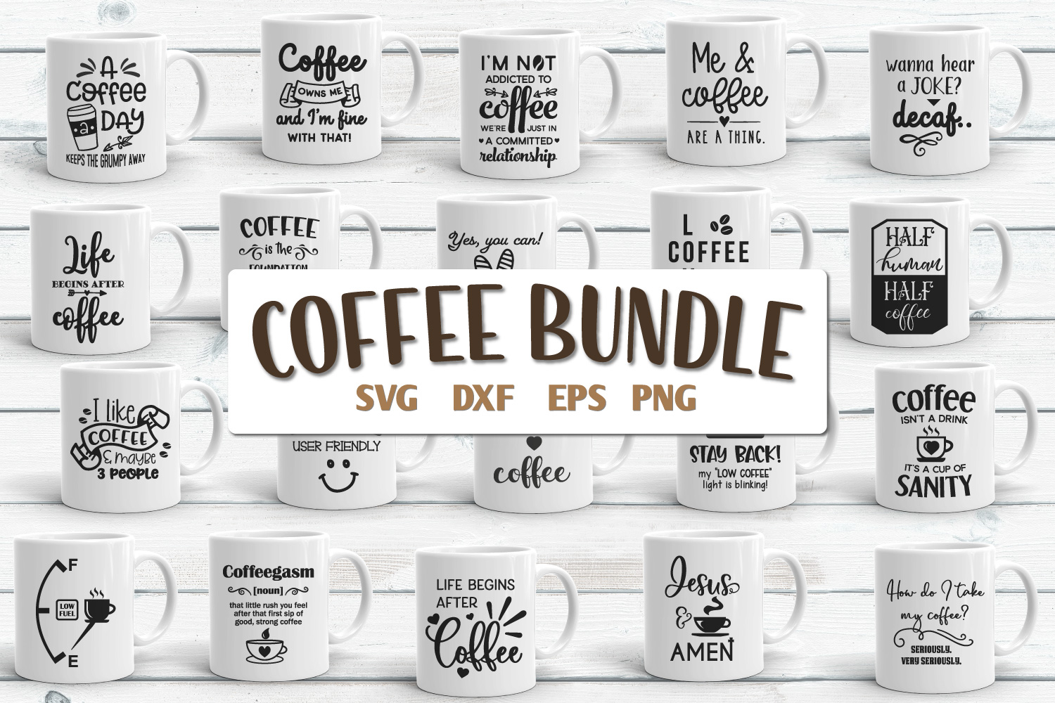 Coffee Quotes Bundle Vol 2 SVG, EPS, DXF, PNG example image 1