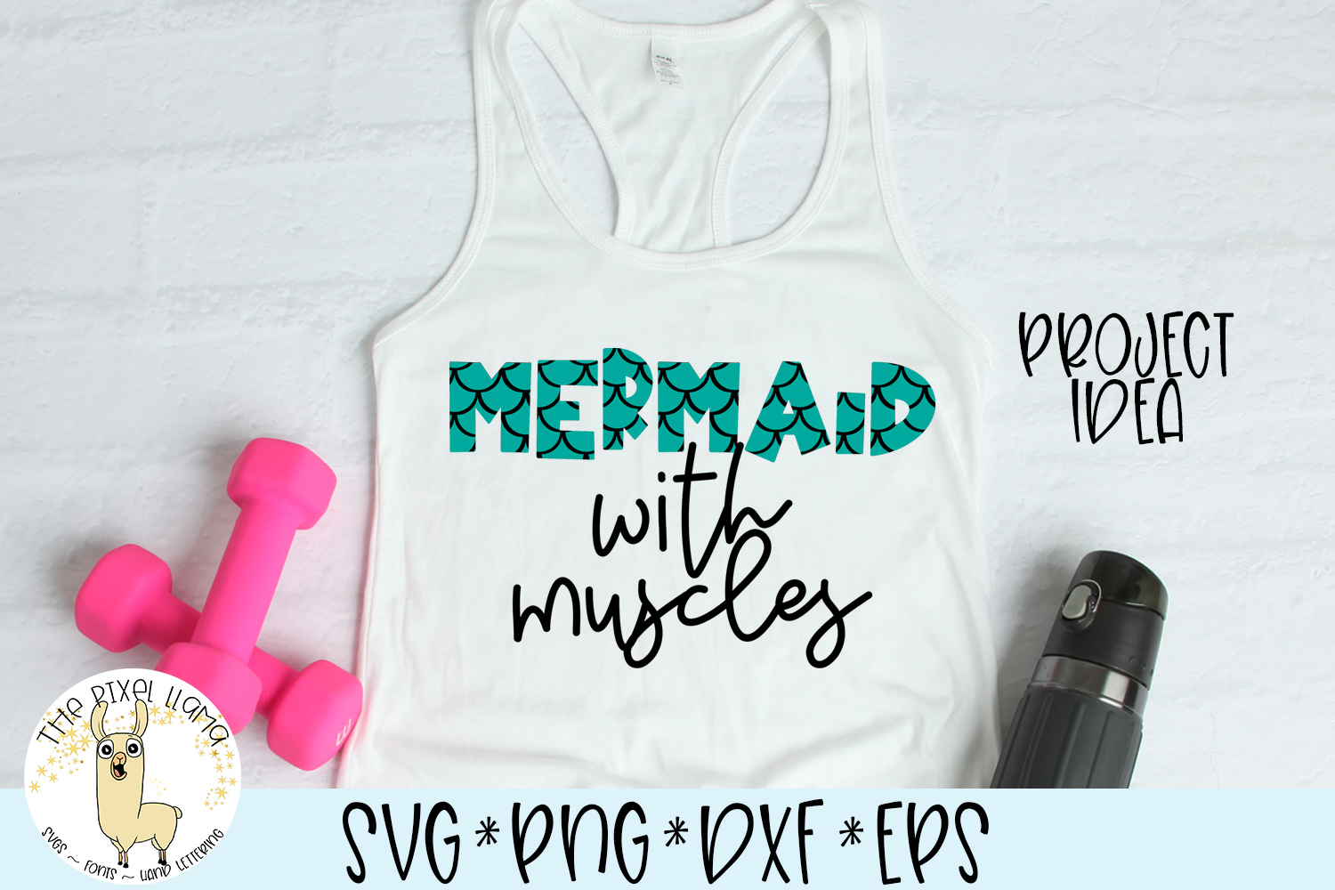 Mermaid With Muscles SVG Cut File example image 2