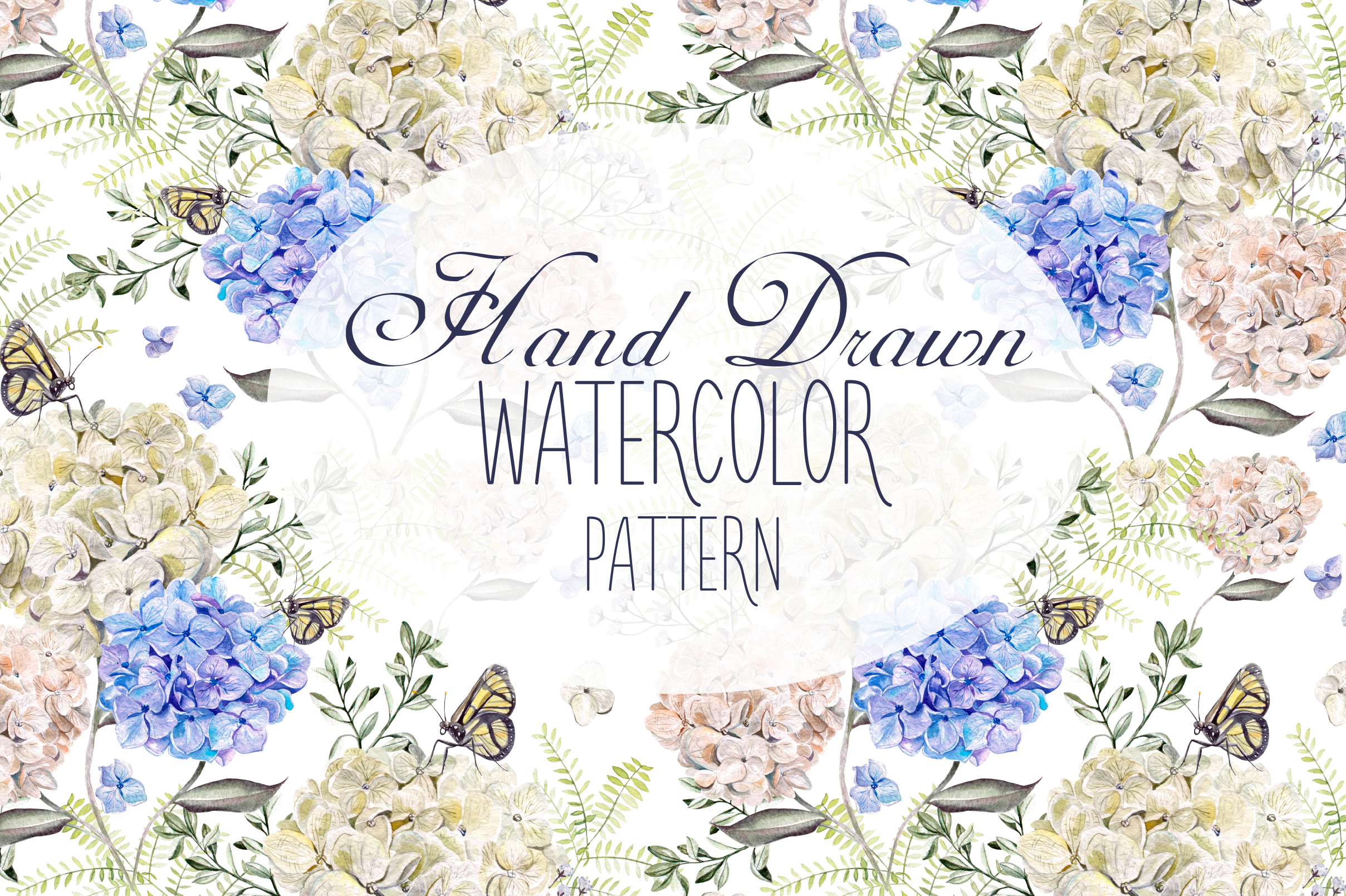 6 Hand Drawn Watercolor PATTERNS example image 1