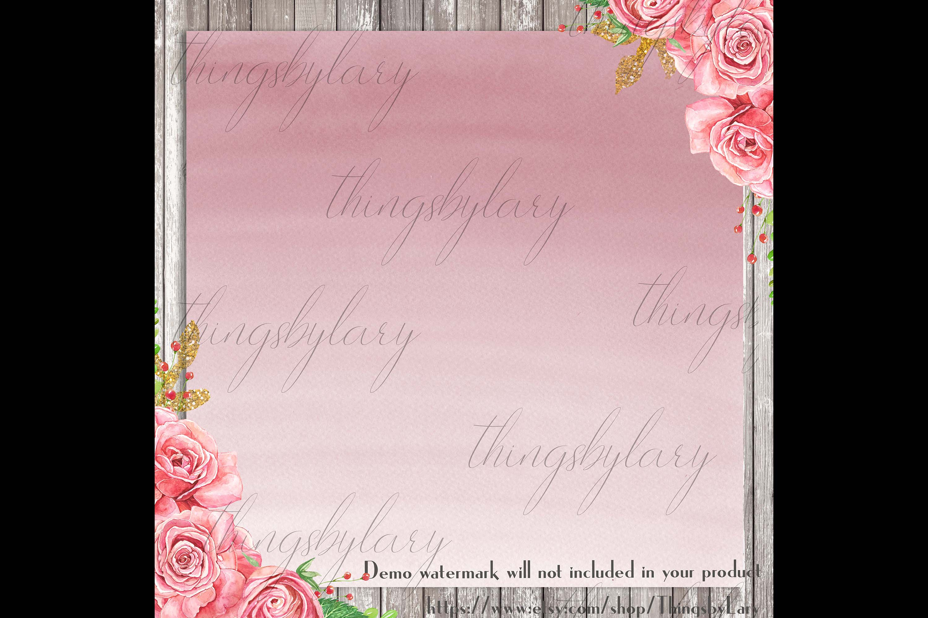 30 Ombre Rosegold Painted Brush Watercolor Digital Papers example image 2
