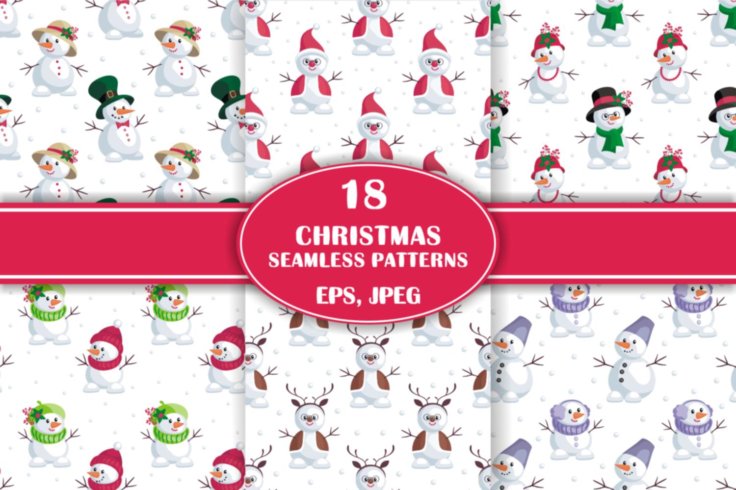 Christmas bundle. Vector cliparts and seamless patterns example image 17