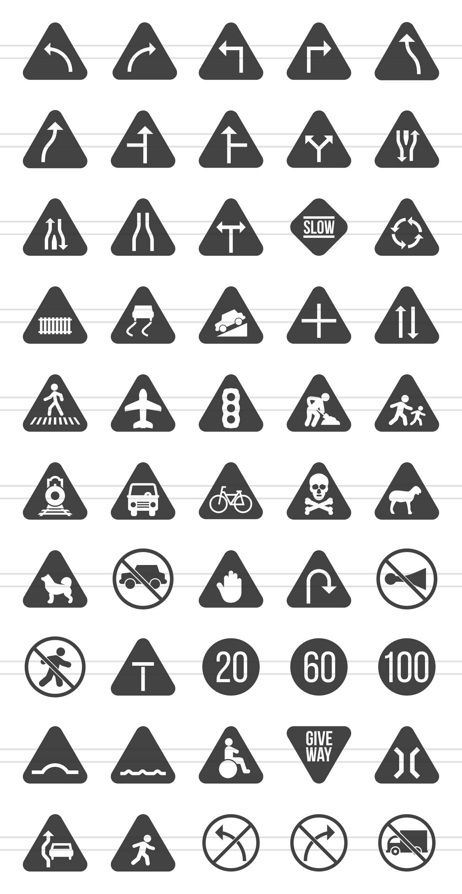 50 Traffic Signs Glyph  Icons example image 2