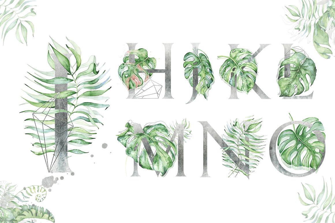 Silver Monstera - tropical alphabet example image 3