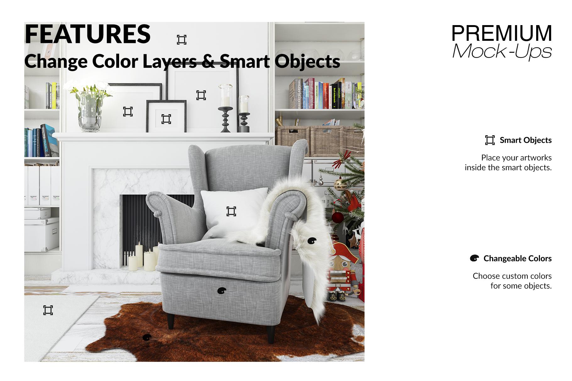 Christmas Living Room - Pillow & Frames Set example image 5