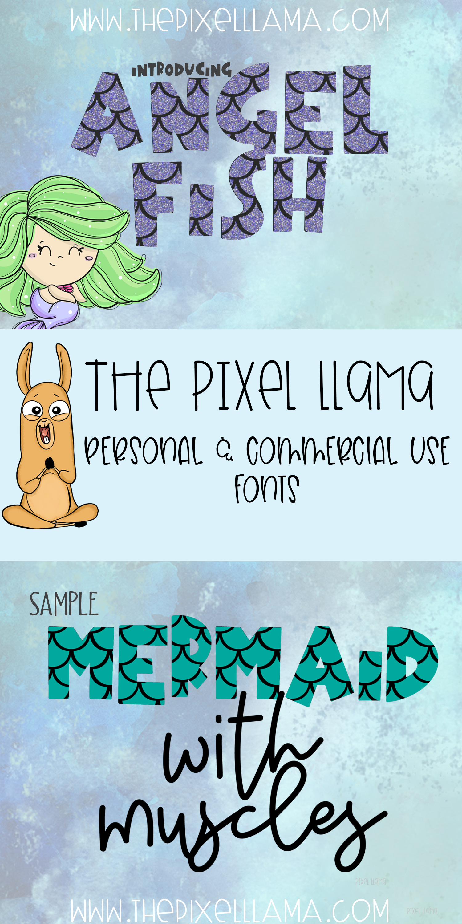 Mermaid Angelfish With Scales Font example image 3