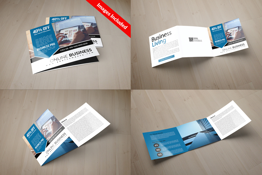 25 Square Trifold Business Brochures Bundle example image 2