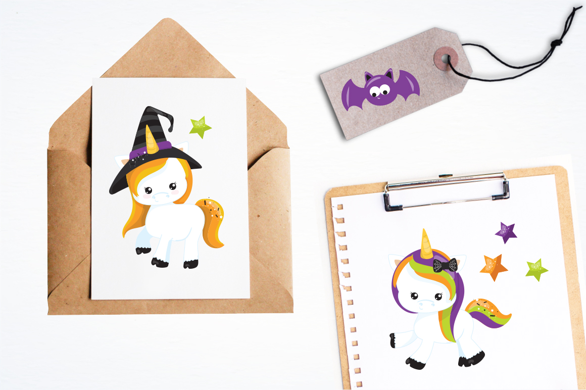 Unicorn Halloween graphic and illustrations example image 3