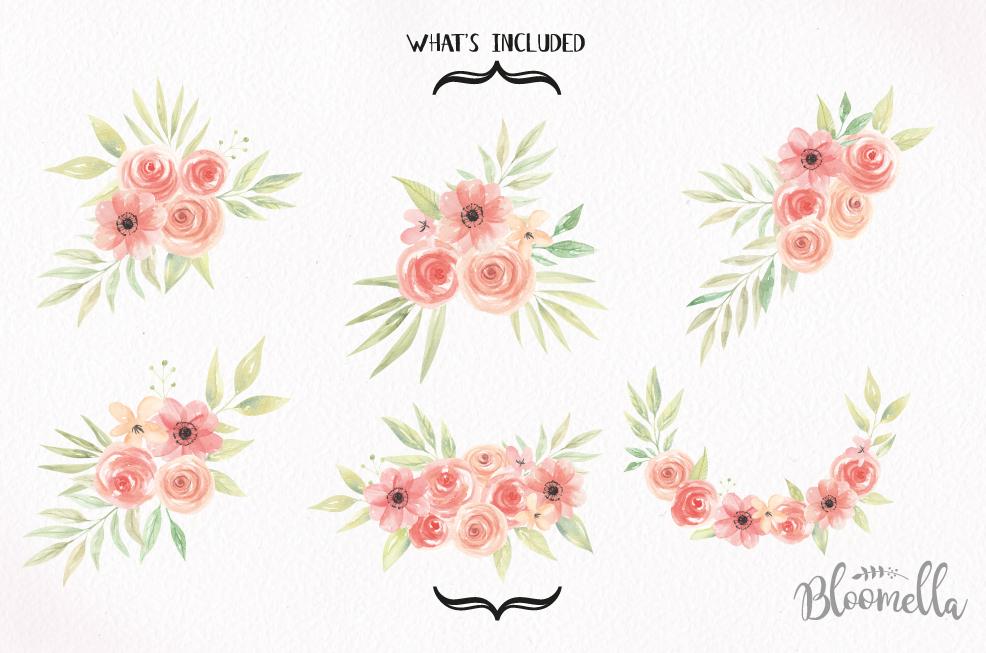 Watercolor Sweet Peach Clipart Bouquets | Design Bundles