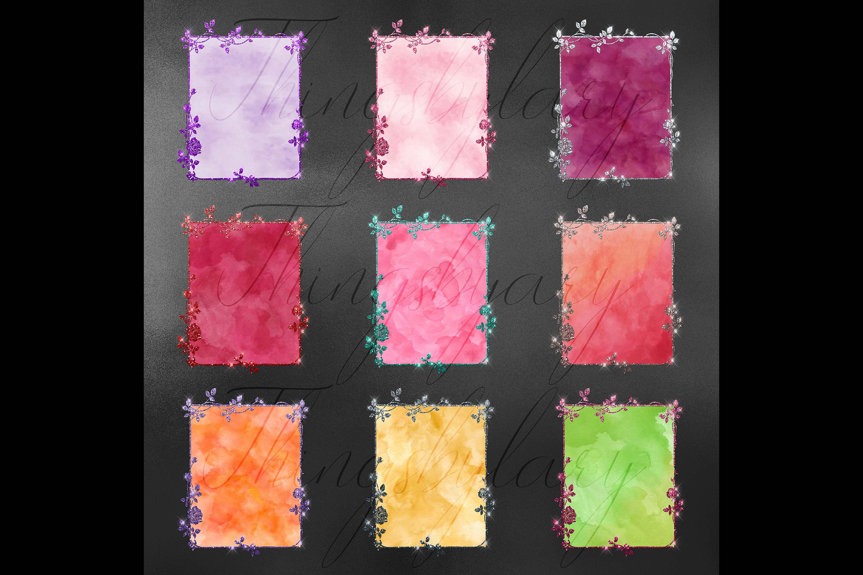 18 Glitter and Watercolor Leaf Branch Floral Frame Card example image 9